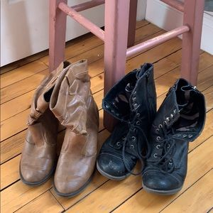 ✨3 for $25✨TWO Pairs Boots and Black Combat Boots